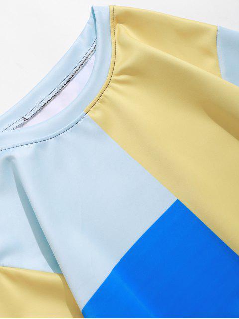 拼色拼接套衫休閒運動衫 - 多-B 3XL Mobile