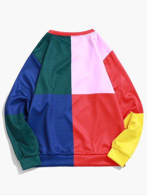 色塊拼接圖案印花套衫運動衫 - 多 2XL Mobile