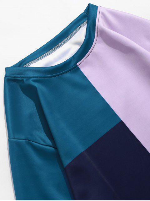 拼色拼接套衫休閒運動衫 - 多-A 3XL Mobile