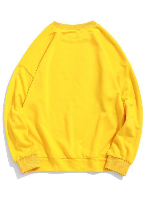 字母圖形打印下垂肩休閒運動運動衫 - 黃色 XL Mobile