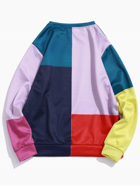 拼色拼接套衫休閒運動衫 - 多-A L Mobile