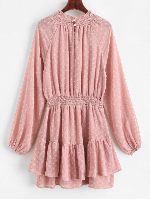 ZAFUL Mini-Robe Superposée à Pois à Manches Longues - Rose Rosé L Mobile