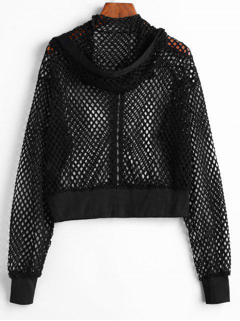 women Hooded Ribbed Trim Fishnet Jacket - BLACK XL Mobile