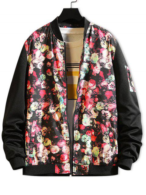 latest Flower Print Color Block Splicing Casual Jacket - BLACK S Mobile