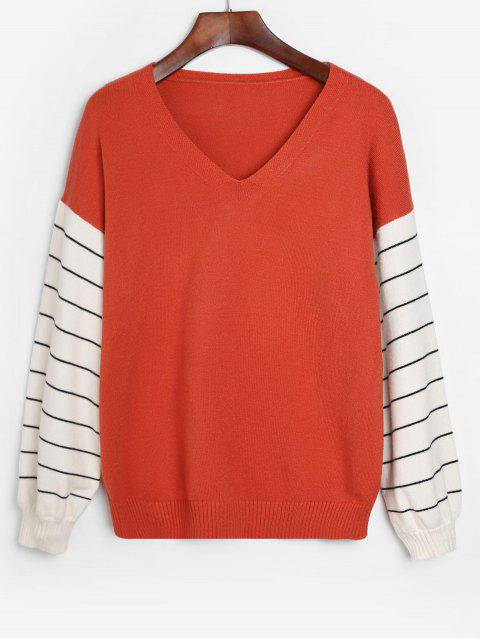 women Striped Lantern Sleeves V Neck Sweater - RUST M Mobile