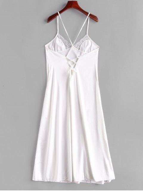 womens Lace Panel Satin Lace-up Slip Dress - WHITE L Mobile