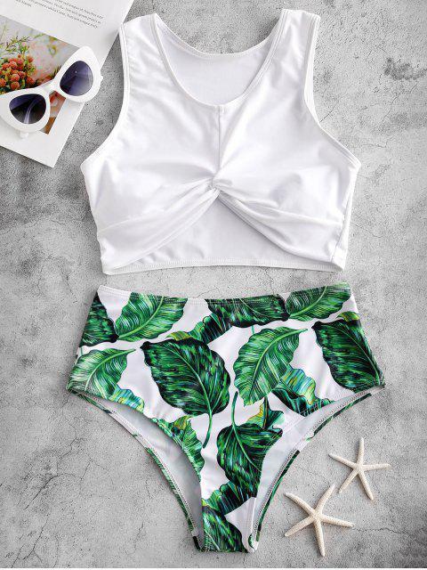Bañador Tankini de talle alto trenzado con estampado de hojas ZAFUL - Multicolor-A L Mobile