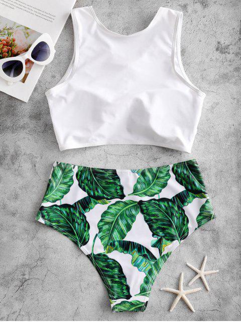 Bañador Tankini de talle alto trenzado con estampado de hojas ZAFUL - Multicolor-A S Mobile