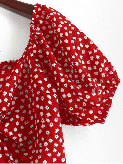ZAFUL Blusa Corta de Flores Minúsculos con Lazo Frontal - Rojo L Mobile