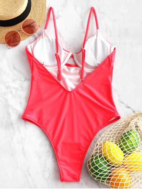 ladies ZAFUL Neon High Cut Underwire One-piece Swimsuit - RED L Mobile