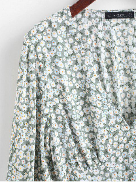 shops ZAFUL Ditsy Print Flippy Hem Plunging Dress - CYAN OPAQUE S Mobile