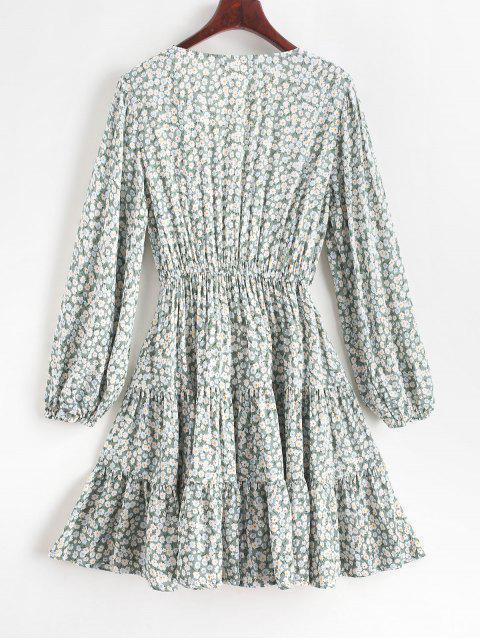 ZAFUL Robe Plongeante Fleurie Imprimée Ourlet à Volants - Cyan Opaque M Mobile