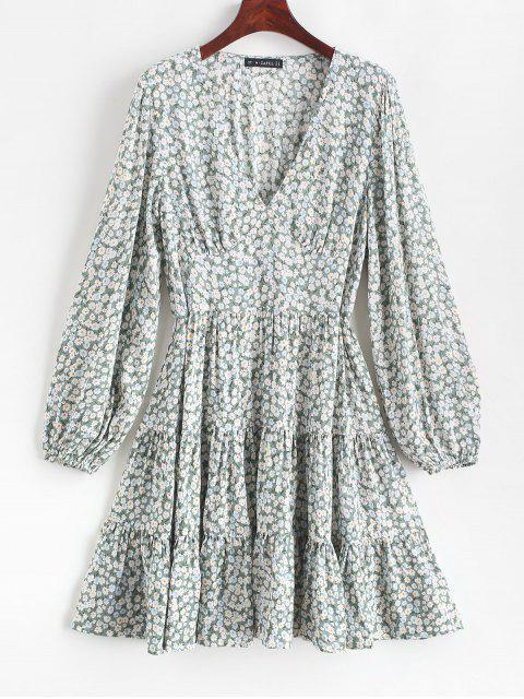 ZAFUL Robe Plongeante Fleurie Imprimée Ourlet à Volants - Cyan Opaque XL Mobile