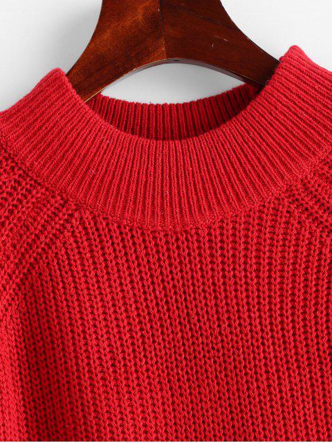women Mock Neck Raglan Sleeve Cuffed Sweater - RED L Mobile