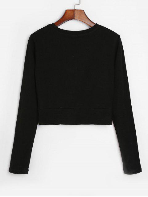 online Cropped Long Sleeve Twisted Hem Tee - BLACK XL Mobile