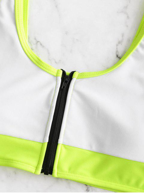 ZAFUL Neon Colorblock Piping Zipper High Cut traje de baño Tankini - Blanco L Mobile
