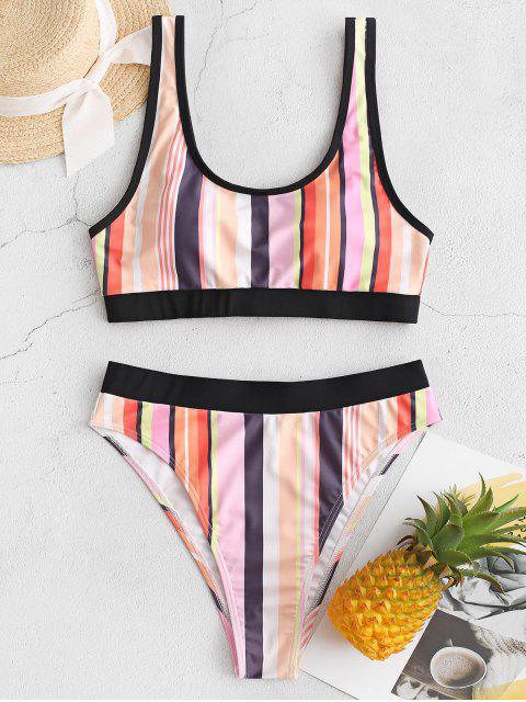 ZAFUL rayado colorido de la tubería de alta Corte de Tankini del traje de baño - Multicolor-A 2XL Mobile