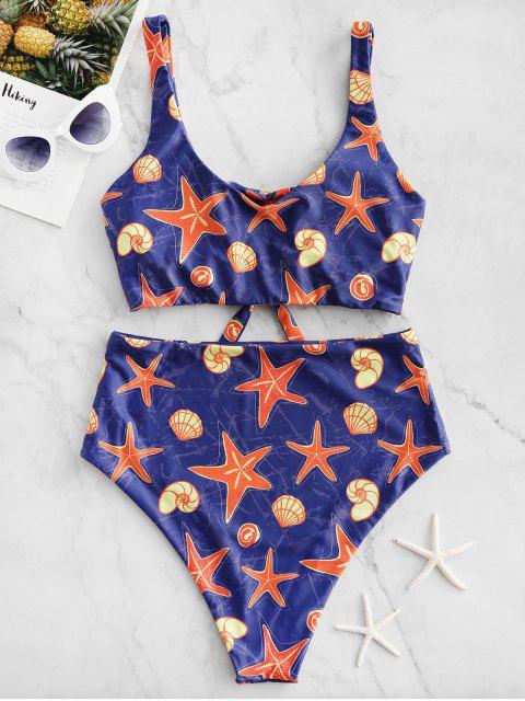 ZAFUL estrellas de mar Shell Imprimir atado de talle alto de Tankini del traje de baño - Multicolor-A M Mobile