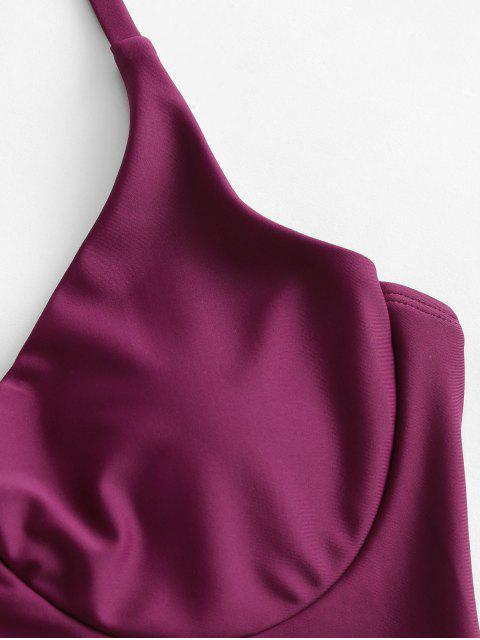 fancy ZAFUL Crisscross Tie Underwire One-piece Swimsuit - MAROON S Mobile