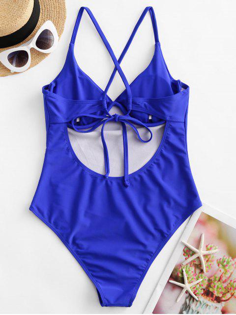 fashion ZAFUL Crisscross Tie Underwire One-piece Swimsuit - BLUEBERRY BLUE S Mobile