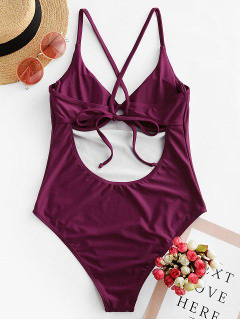 affordable ZAFUL Crisscross Tie Underwire One-piece Swimsuit - MAROON M Mobile