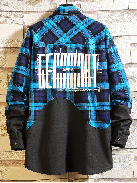 women's Color Block Splicing Plaid Graphic Long Shirt - BLUE M Mobile