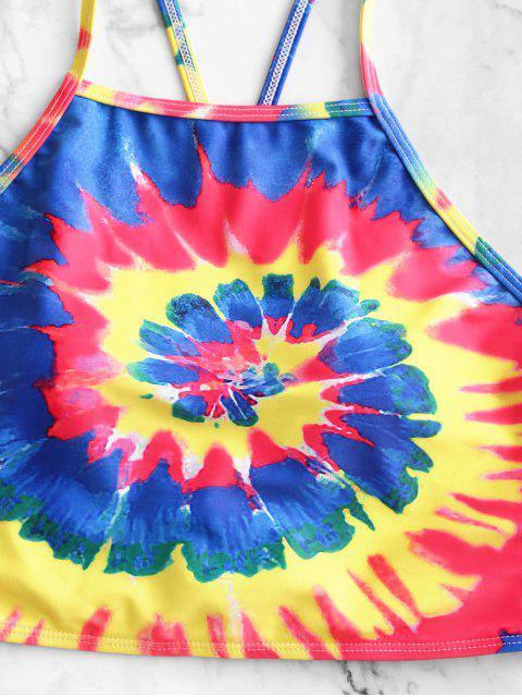 ZAFUL espiral del teñido anudado de impresión Cruz Alta Corte de Tankini del traje de baño - Multicolor-A M Mobile