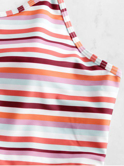 ZAFUL rayada colorida del cordón de la panza de control de Tankini del traje de baño - Multicolor-A L Mobile