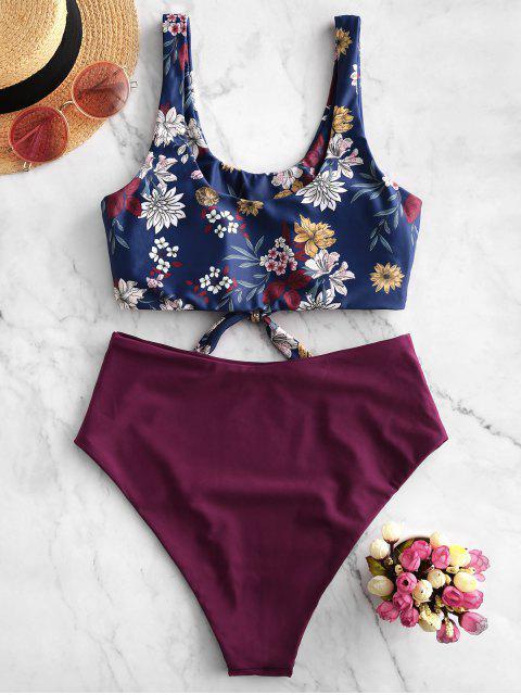 ZAFUL floral nudo recorte acanalada de Tankini del traje de baño - Marrón L Mobile