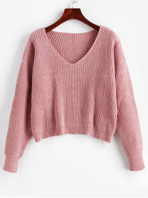 outfits Drop Shoulder V Neck Crop Chenille Sweater - LIPSTICK PINK XL Mobile