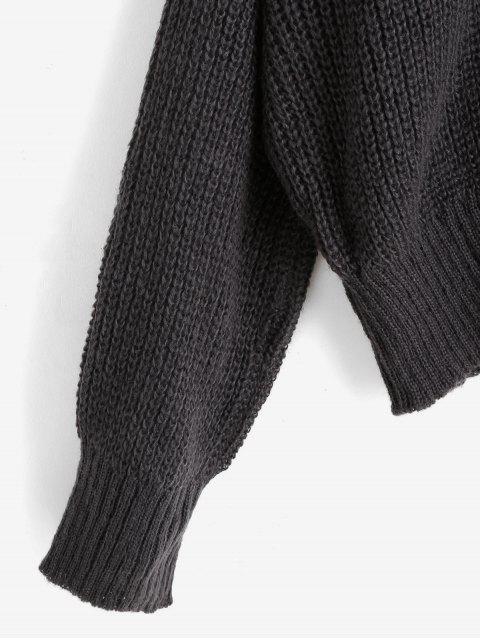 露肩寬鬆毛衣 - 灰色 XL Mobile