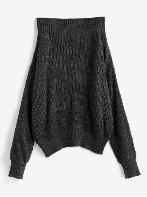 chic Off Shoulder Solid Loose Sweater - GRAY XL Mobile
