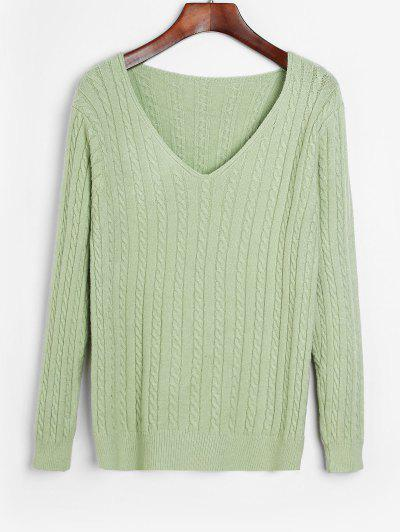 Solid Pullover Cable Knit V Neck Sweater - Light Green
