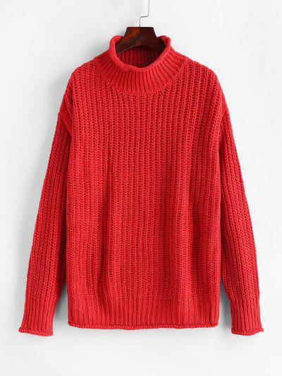 High Neck Drop Shoulder Chunky Sweater - Red S