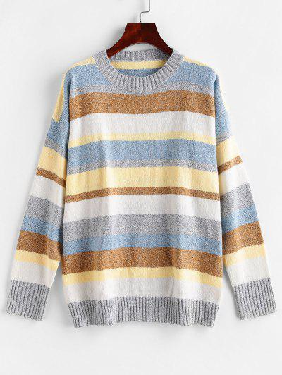 Color Block Drop Shoulder Loose Sweater - Multi-d S