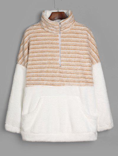 Striped Half Zip Faux Fur Longline Sweatshirt - Multi-c S