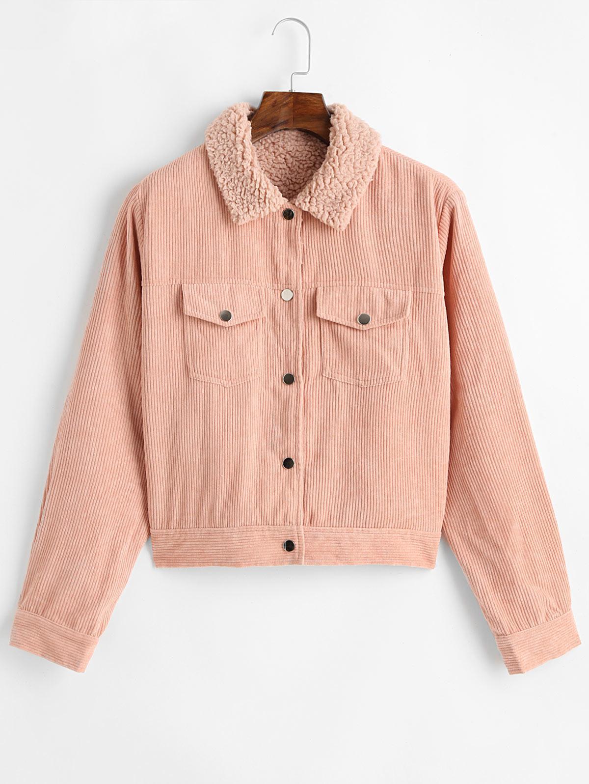 ZAFUL Button Up Pockets Corduroy Fleece Lined Jacket thumbnail