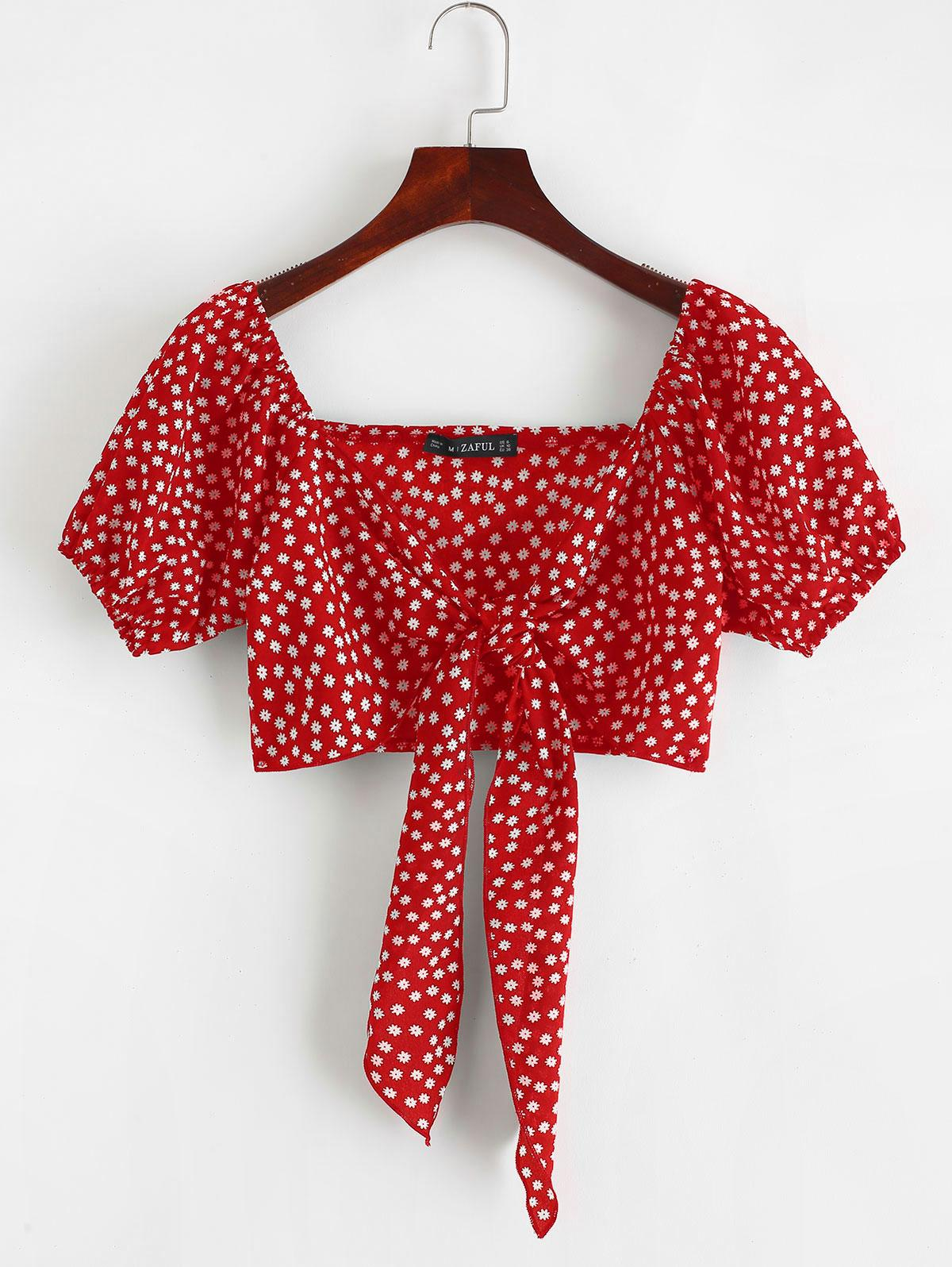 ZAFUL Tie Front Tiny Floral Crop Blouse
