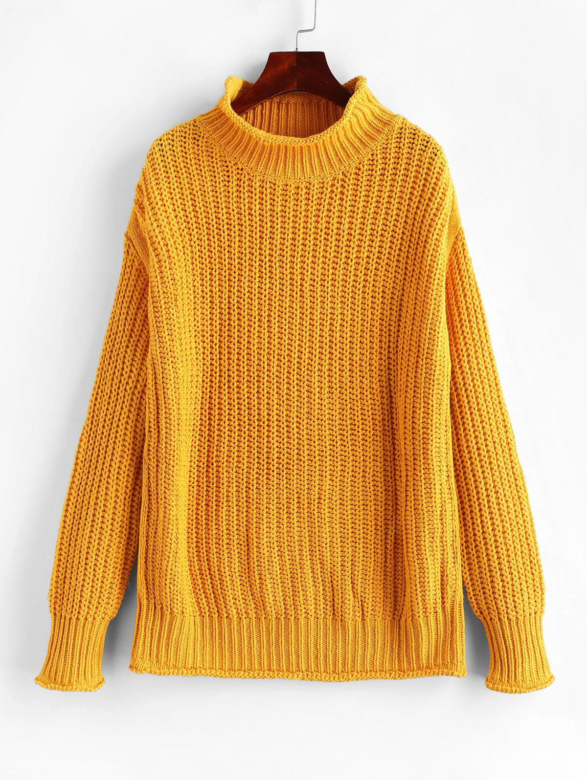 High Neck Drop Shoulder Chunky Sweater