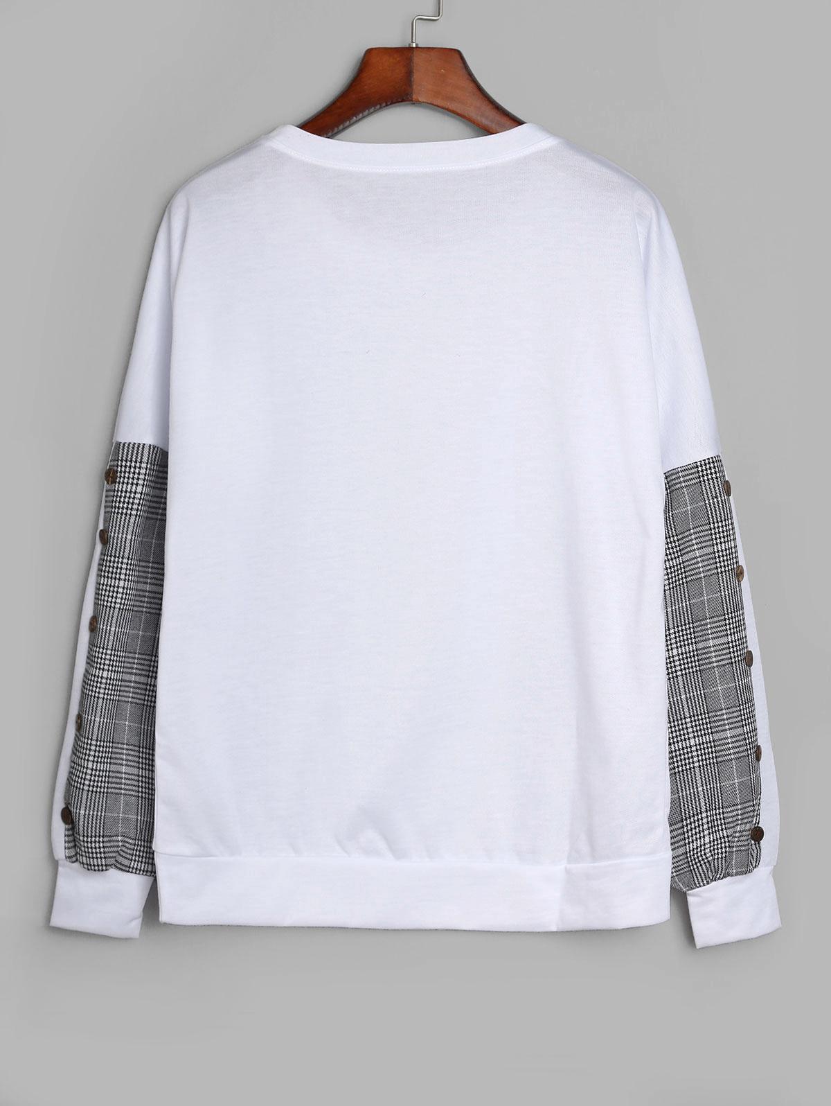 Drop Shoulder Mock Button Plaid Panel Sweatshirt