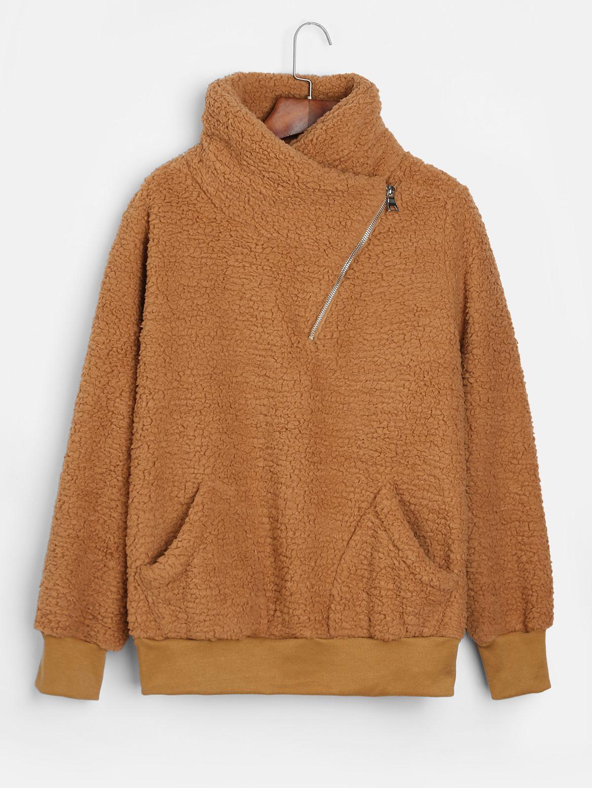 Asymmetric Zipper Pockets Faux Fur Sweatshirt