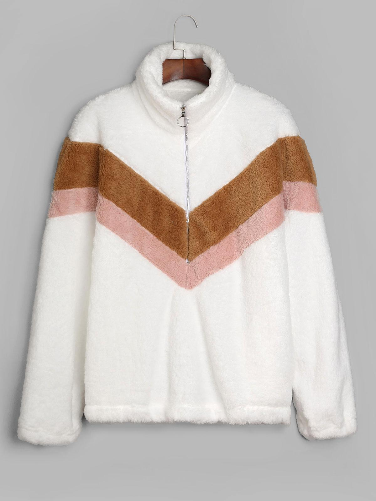 Color Block Half Zip Fluffy Sweatshirt