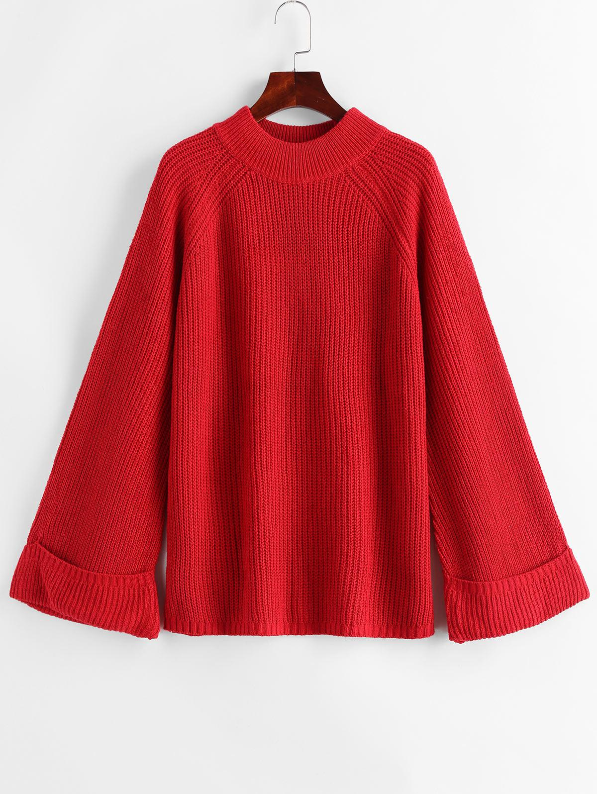 Mock Neck Raglan Sleeve Cuffed Sweater, Red