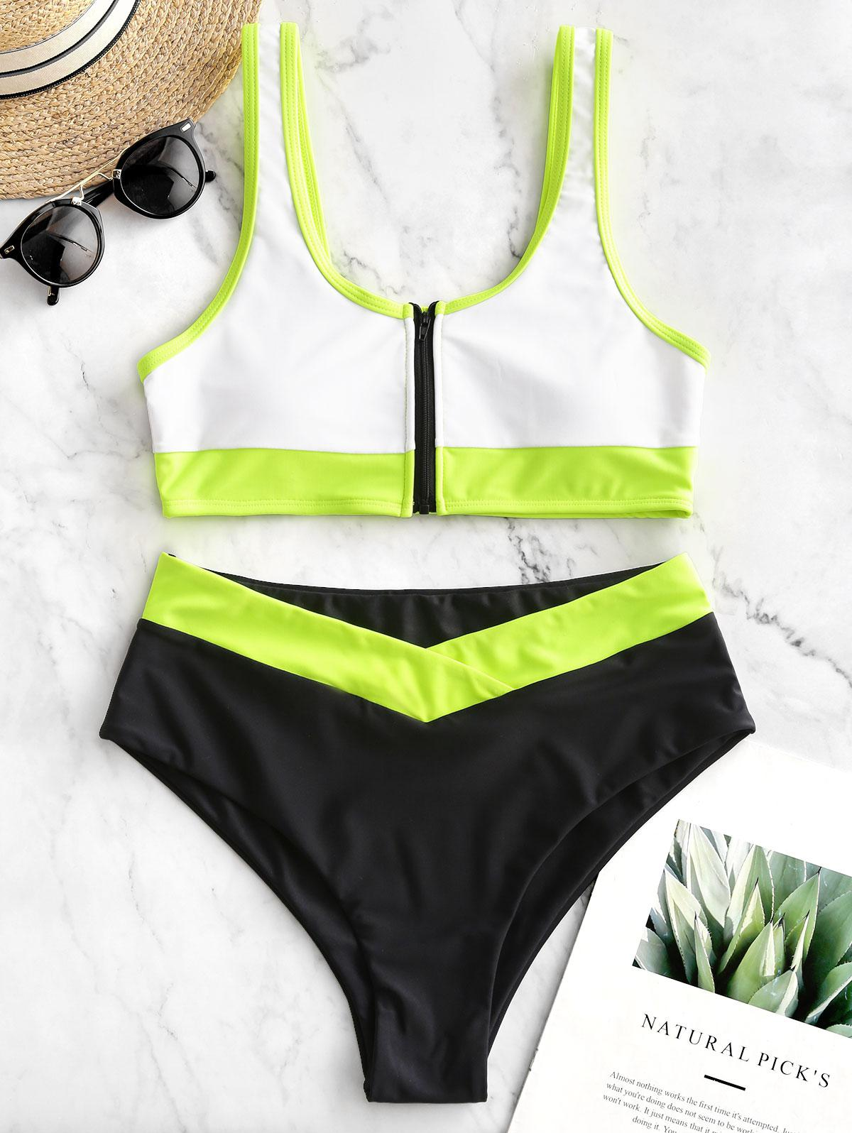 ZAFUL Neon Colorblock Piping Zipper High Cut Tankini Swimsuit thumbnail