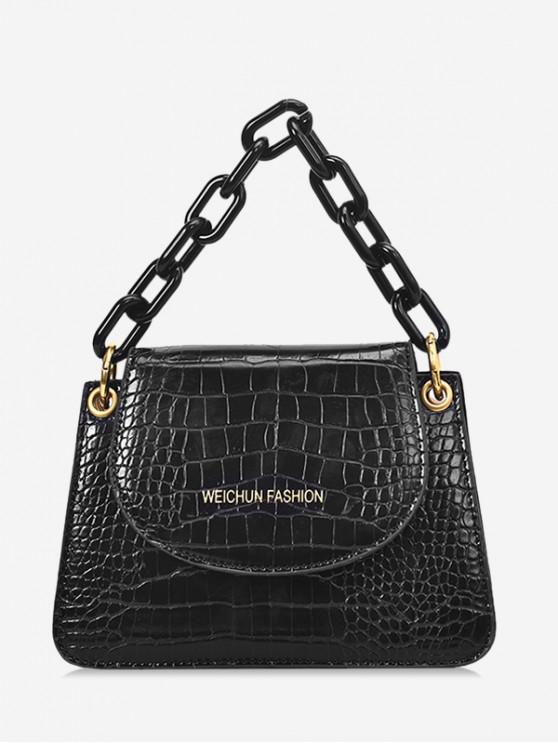 women's Snakeskin Embossed Flap Tote Bag - BLACK