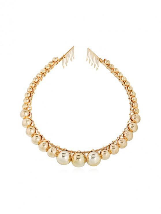 fancy Faux Pearl Round Beads Hairband - GOLD