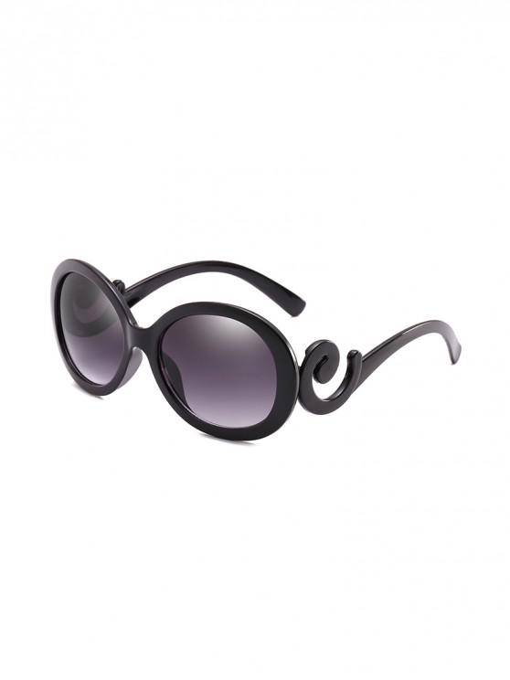 women's UV Protection Spiral Temple Oval Sunglasses - BLACK