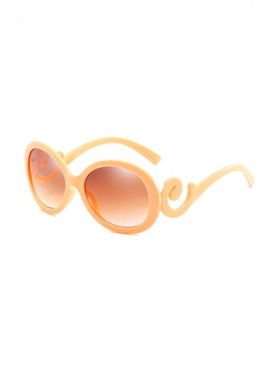 hot UV Protection Spiral Temple Oval Sunglasses - YELLOW