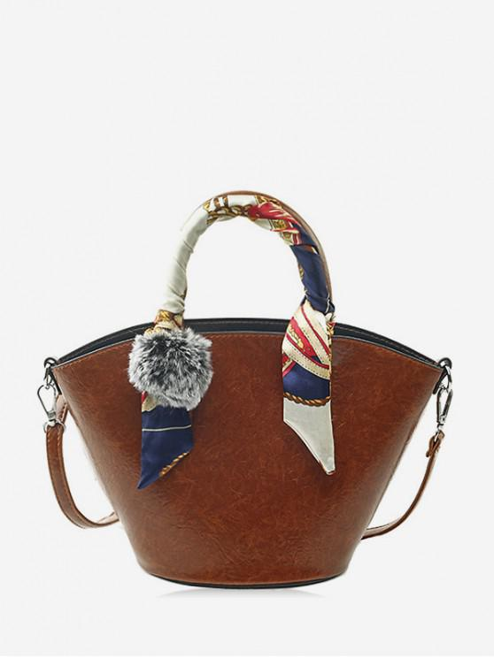 women's Pom Pom PU Leather Bucket Bag with Silk - BROWN