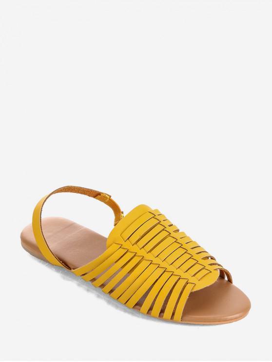 ladies PU Leather Slingback Flat Huarache Sandals - YELLOW EU 40